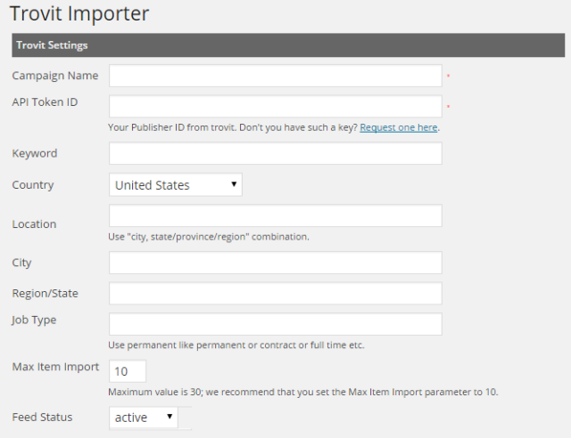 trovit   job importer